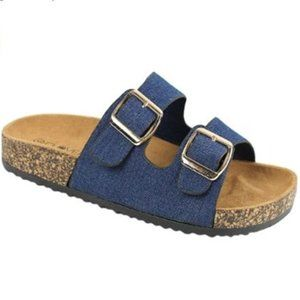 Slip On Dark Denim Sandals